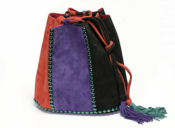 Renaud Pellegrino Black Purple Green Suede Studded Drawstring Bucket Bag
