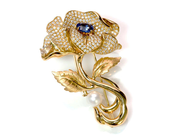 Renewis 18K Gold Diamond Sapphire Pearl Flower Brooch