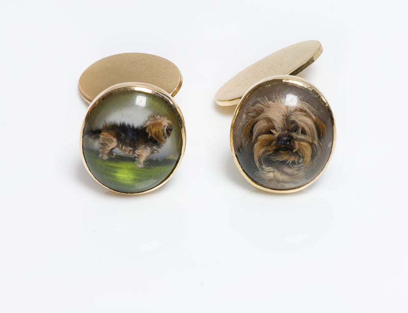 Antique Reverse Crystal Yorkshire Dog Cufflinks