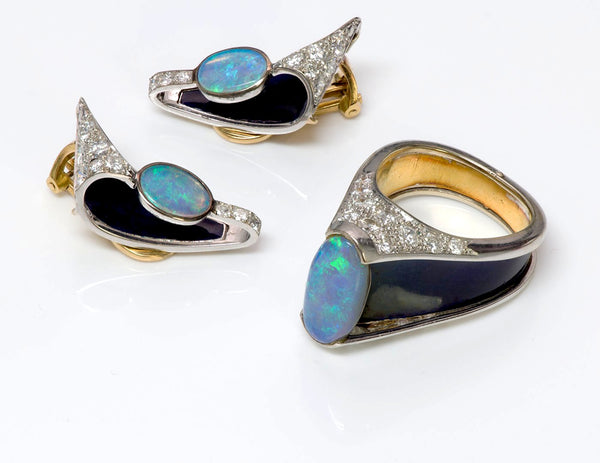Opal Diamond Enamel Gold Earrings and Ring Suite