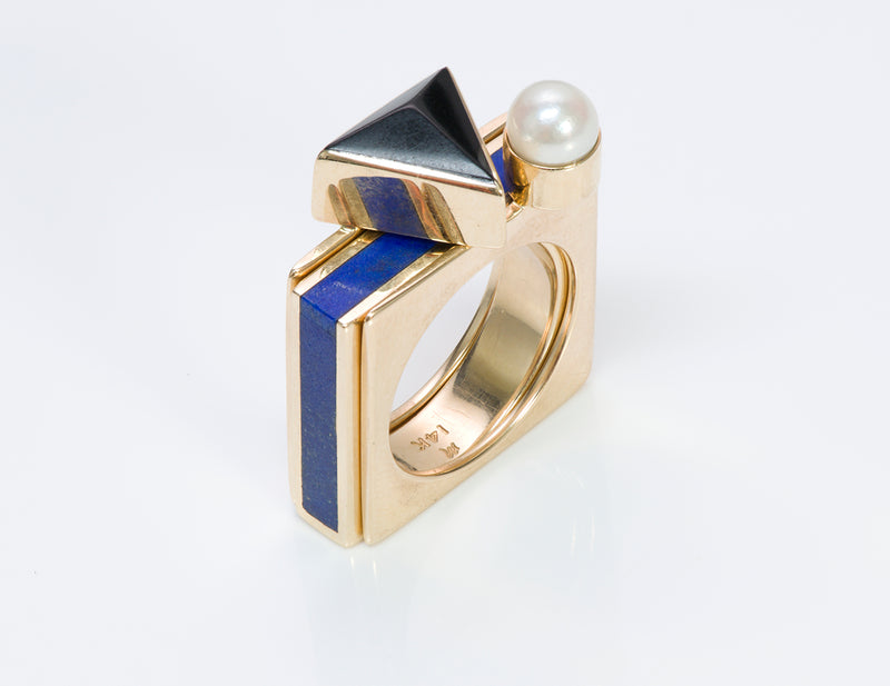 Gold Pearl Onyx Lapis 3 Ring Combo