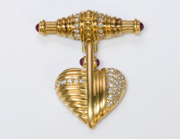 Judith Ripka Diamond Ruby Gold Heart Brooch