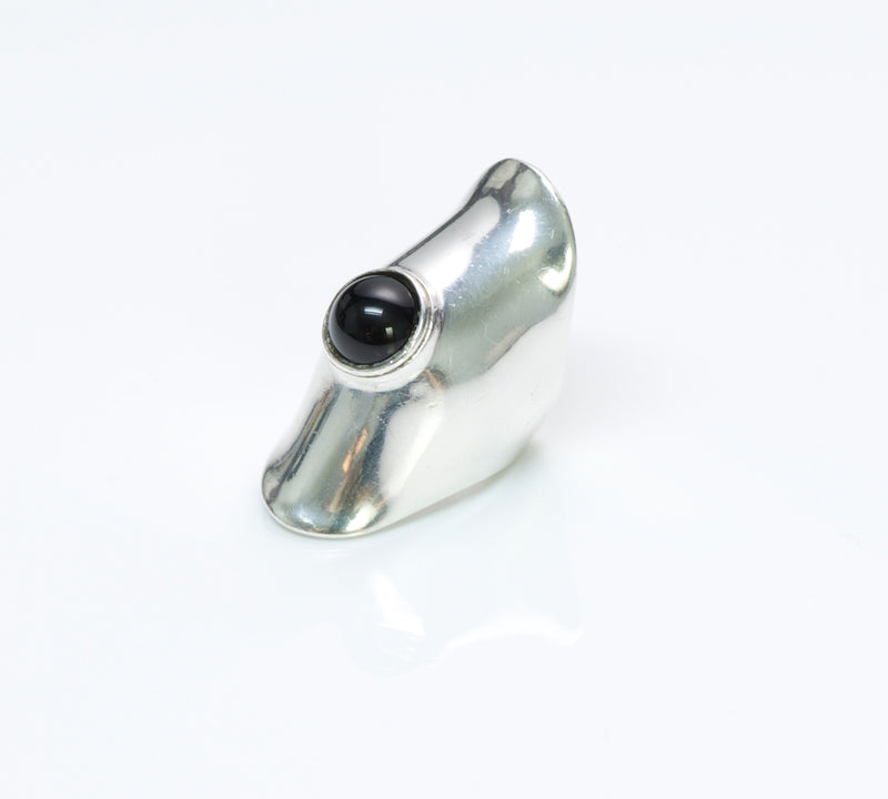 Robert Lee Morris Silver Onyx Knuckle Ring