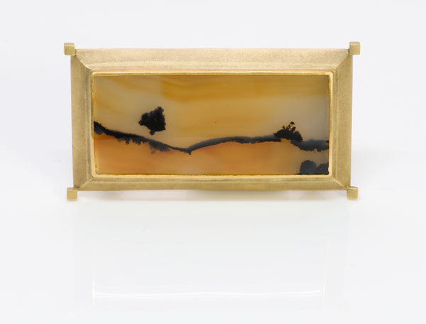 Rob Greene 18K Gold Scenic Agate Brooch