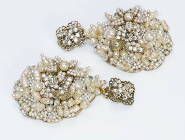 Robert DeMario 1950's Long Pearl Crystal Filigree Earrings