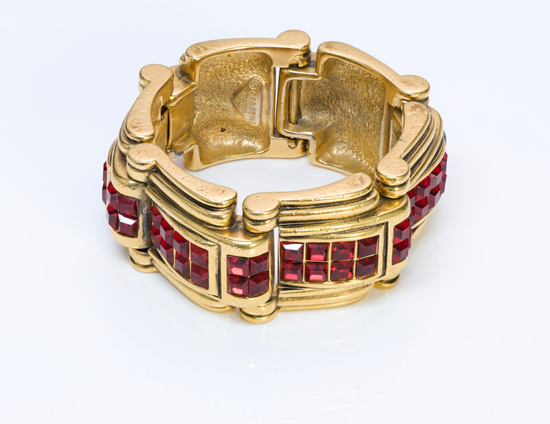Robert Goossens Paris Gold Plated Red Crystal Chunky Bracelet1