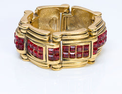 Robert Goossens Paris Gold Plated Red Crystal Chunky Bracelet