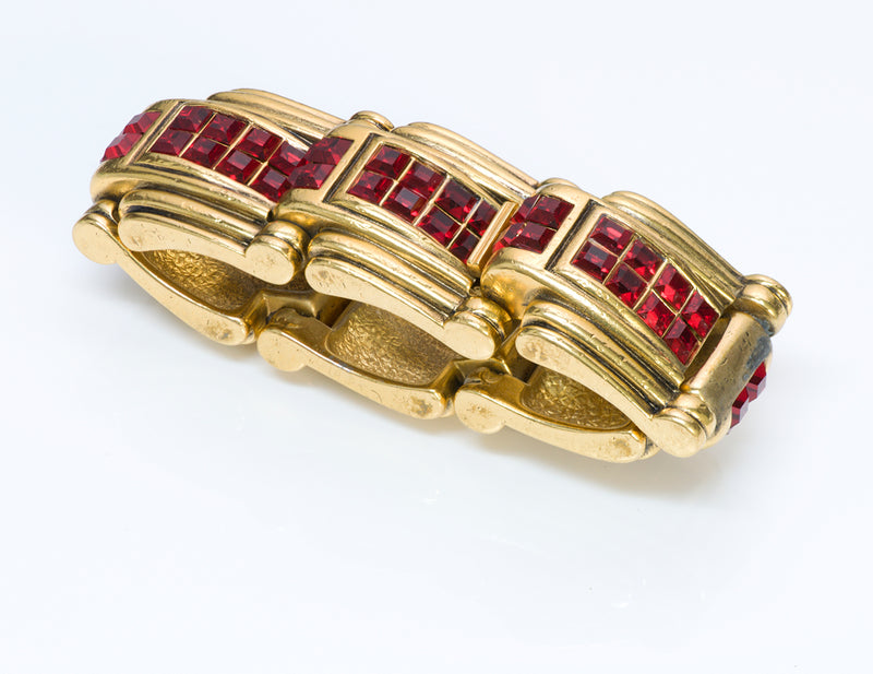 Robert Goossens Paris Gold Plated Red Crystal Bracelet