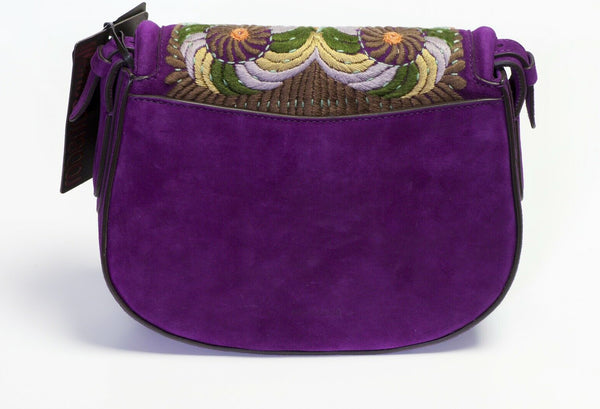 Roberto Cavalli Purple Suede Embroidered Crossbody Bag 2