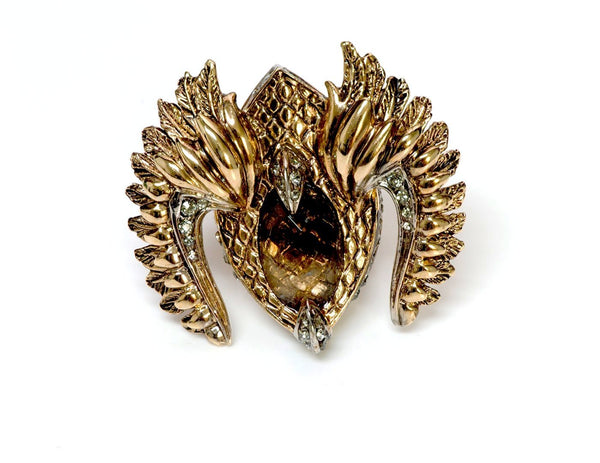 Roberto Cavalli Gold Tone Crystal Cocktail Ring