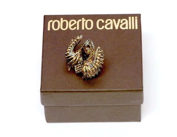 Roberto Cavalli Gold Tone Crystal Cocktail Ring 1