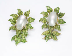 Roger Jean-Pierre Paris 1950's Depose Green Enamel Leaf Pearl Earrings