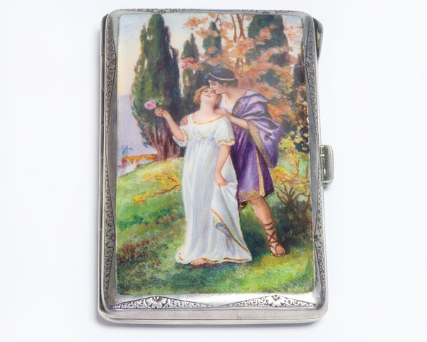 Antique Enamel Romantic Scene Case