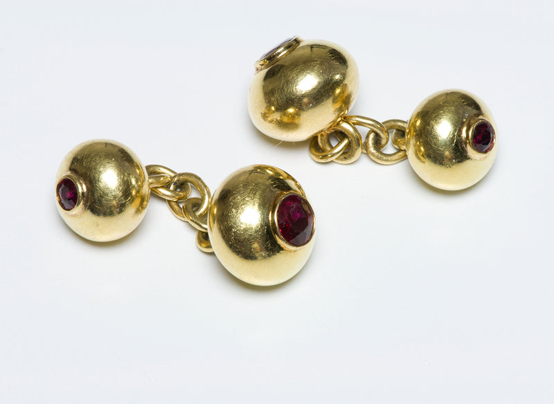 Vintage Ruby Gold Bead Chain Cufflinks