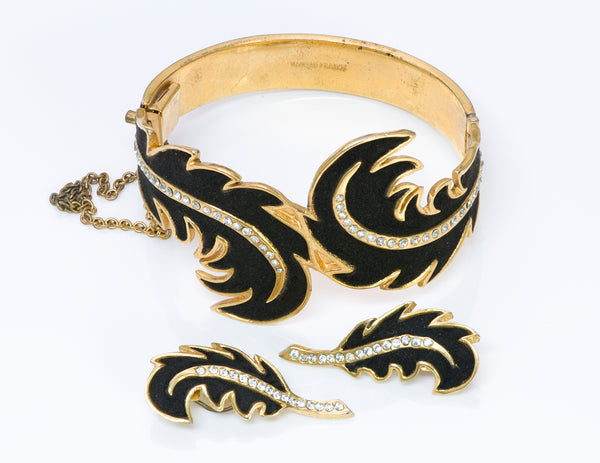 Louis Rousselet 1940's Suede Crystal Leaf Bracelet Earrings
