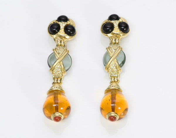 Roxanne Assoulin Long Faux Amber Glass Earrings