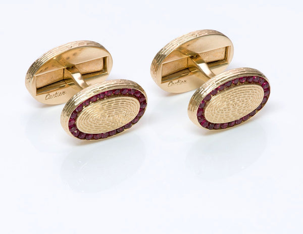 Cartier Ruby Gold Oval Cufflinks