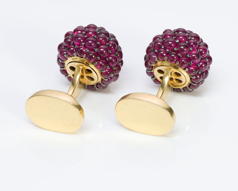 Ruby Cluster 18K Gold Cufflinks3
