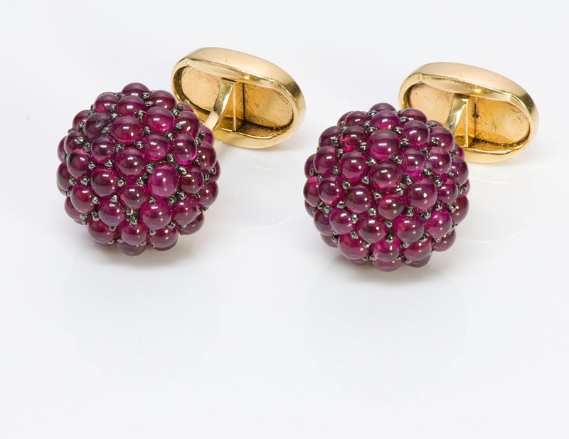 Ruby Cluster 18K Y Gold Cufflinks