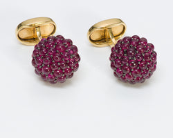Ruby Cluster 18K Gold Cufflinks