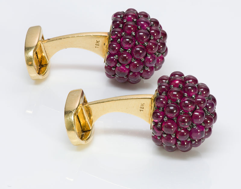 Ruby Cluster 18K Gold Cufflinks 2