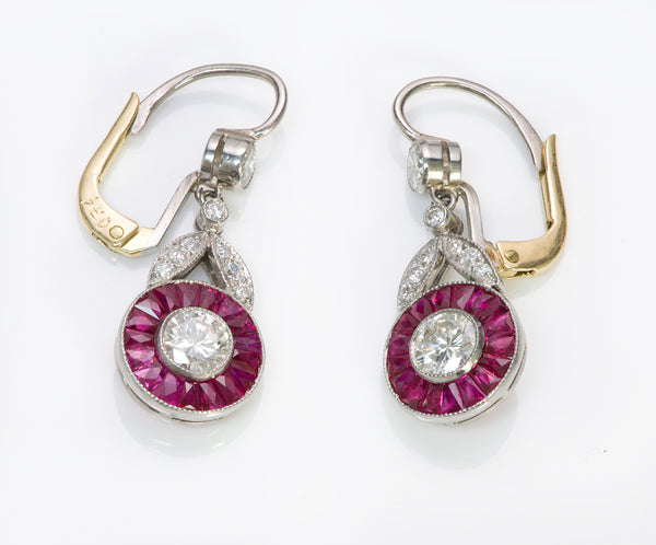 Diamond Ruby Platinum Gold Deco Earrings