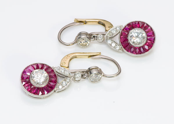 Diamond Ruby Platinum Gold Earrings