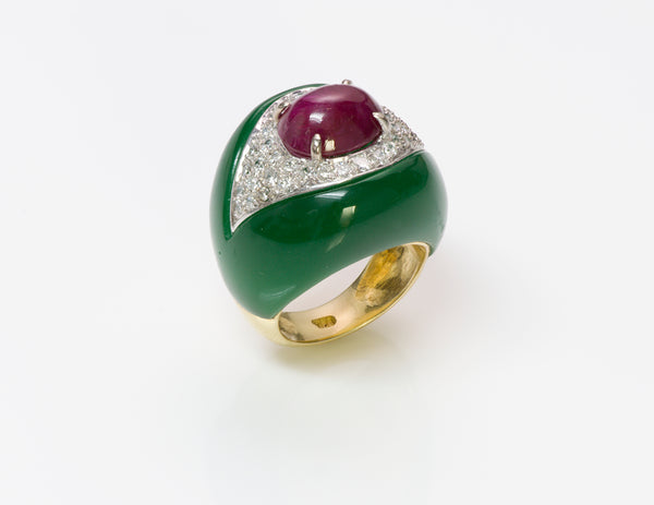 Ruby Diamond Onyx Gold Ring
