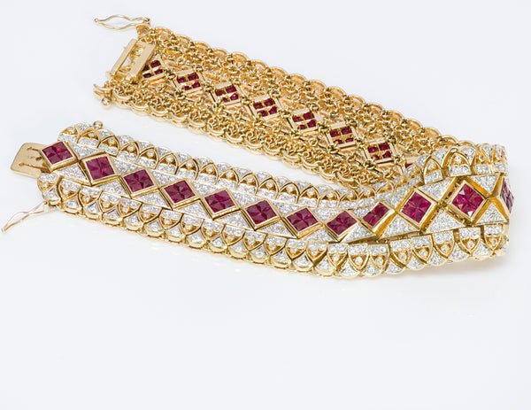 Ruby Diamond 18K Yellow Gold Bracelet
