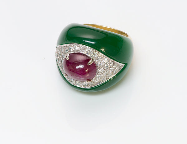 Ruby Diamond Green Onyx Gold Ring