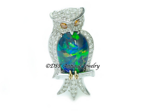 Ruser Opal Diamond Platinum Owl Brooch