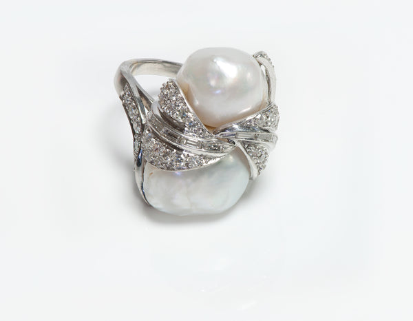 Ruser Platinum Pearl & Diamond Ring