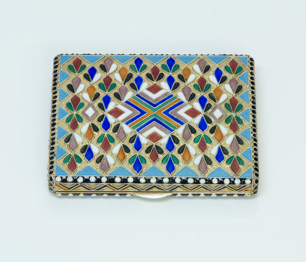 Russian Multicolored Enamel Gilt Silver Box