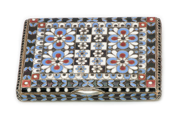 Russian Multicolored Enamel Silver Box