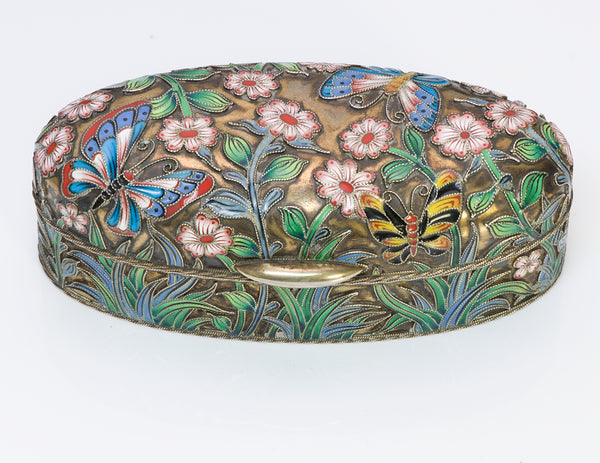 Russian Enamel Gilt Silver Oval Box