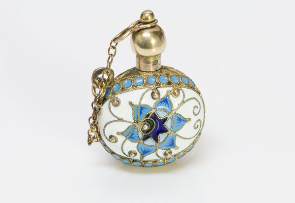 Russian Enamel Silver Perfume Bottle