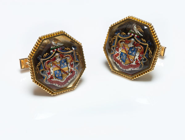 Antique Gold Reverse Crystal Stewart Clan Crest Cufflinks
