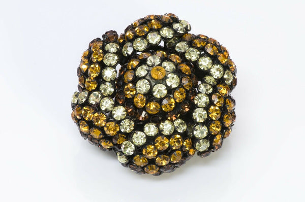SANDOR Yellow Brown Crystal Flower Brooch