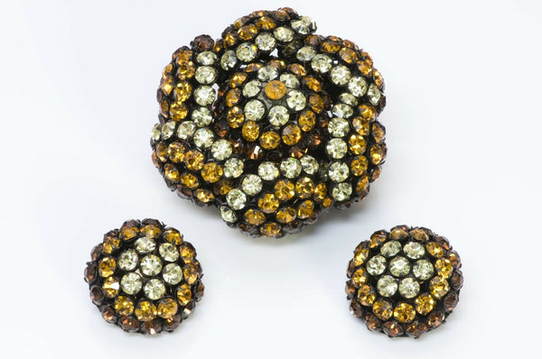 SANDOR Yellow Brown Crystal Flower Brooch Earrings