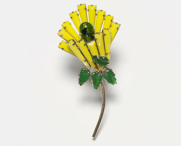 SCHREINER New York Yellow Keystone Crystal Green Glass Flower Brooch