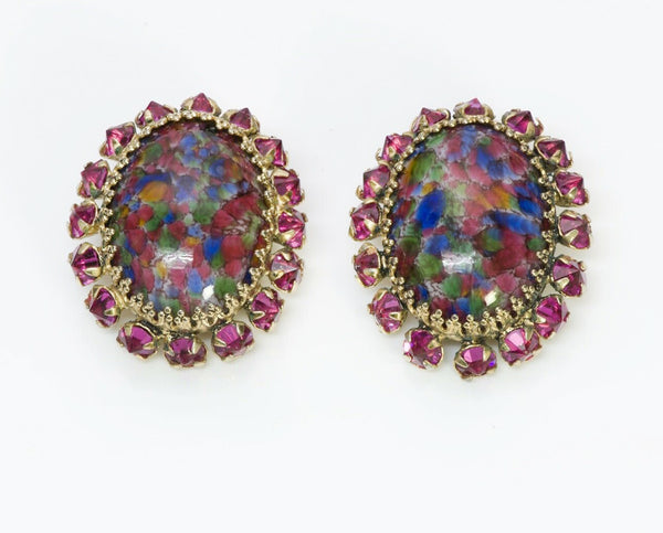 SCHREINER NY 1950's Pink Crystal Marble Glass Earrings