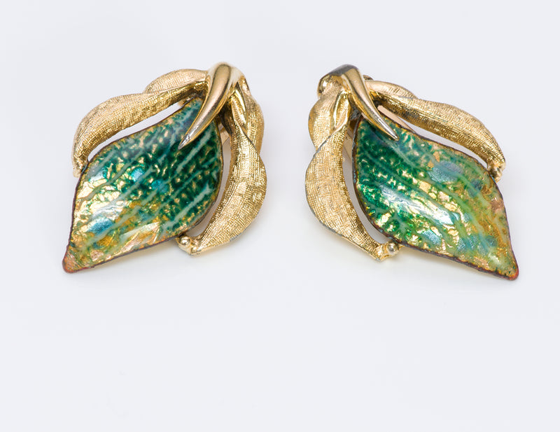 Renoir Sauteur Gold Tone Green Enamel Earrings