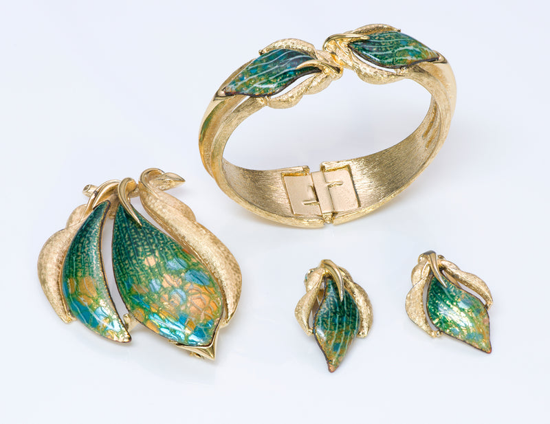 Renoir Sauteur Enamel Bracelet Earrings Brooch
