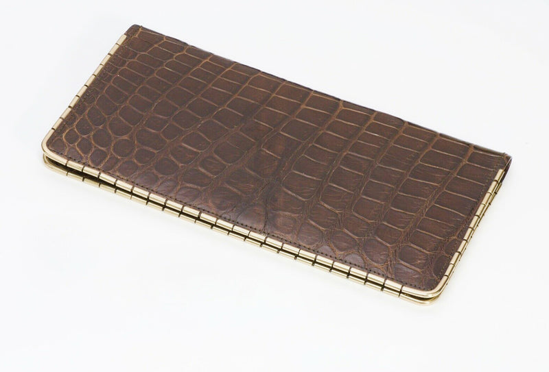SULKA New York Glossy Brown Crocodile 14K Gold Corners Long Bifold Wallet