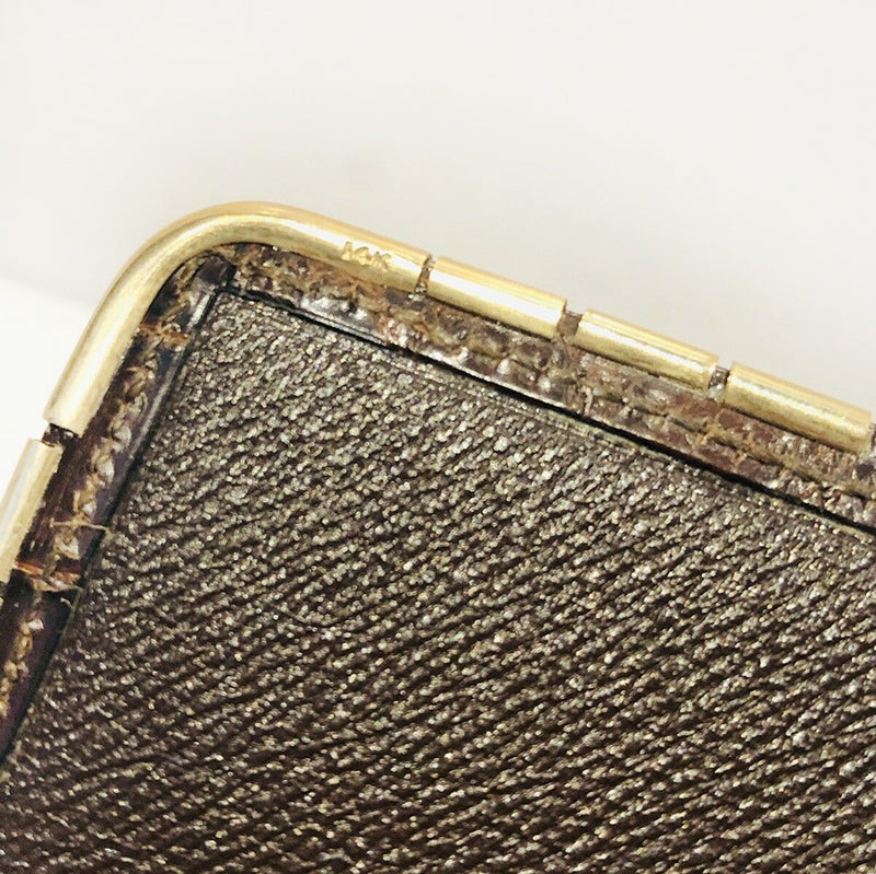 SULKA New York Glossy Brown Crocodile 14K Gold Corners Long Bifold Wallet NY