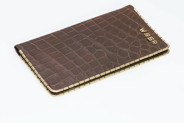 SULKA Brown Crocodile 14K Gold Bifold Wallet NY
