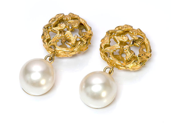 Salvatore Ferragamo Gold Tone Pearl Earrings