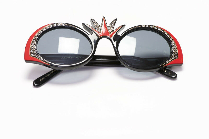 Sanford Hutton France Red Black Crystal Sunglasses