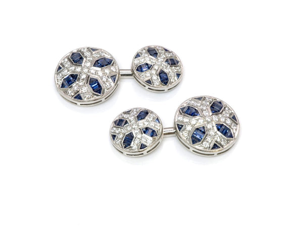 Estate Sapphire & Diamond Cufflinks Set