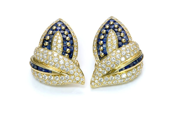 Craig Drake Sapphire Diamond Gold Earrings
